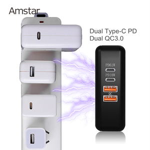 Image 2 - Amstar 61 w 듀얼 usb c 타입 c pd 고속 충전기 macbook pro air 화웨이 hp 노트북 태블릿 듀얼 빠른 충전 3.0 전원 어댑터