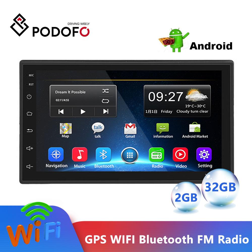 Podofo Android 2Din 2.5D samochodowe multimedia odtwarzacz MP5 Radio GPS Wifi Autoradio 7