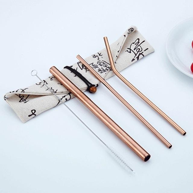 Reusable Stainless Steel Drinking Straws 4 Pcs Set