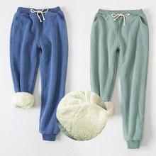 Pantalones de mujer cintura elástica sólida pantalones de harén gruesos 2019 invierno versión coreana nuevos pantalones calientes de Cachemira de piel de cordero para mujer