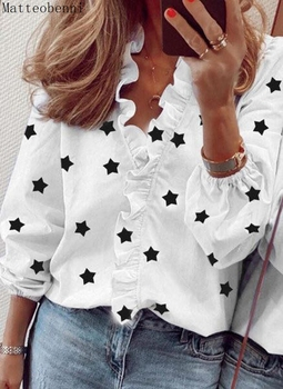 Fashion Print Shirt Women White Blouses Autumn Long sleeve V Neck Ruffles Shirts Elegant Office Lady Blouse Spring Top plus size women s tops and blouses cotton white shirt line face print retro shirts with long sleeve white blouse lady spring summer xnxee