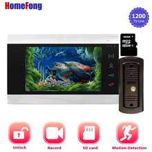 Homefong 7 Inch Video Door Phone Doorbell Intercom System Home Intercom Doorbell Camera Unlock Record SD Card Built-in Power cheap Wired Hands-free CMOS Color Touch Screen Acrylic wire drawing shell 7 inch video door phone intercom system DC 12V 7F MS-P21GT