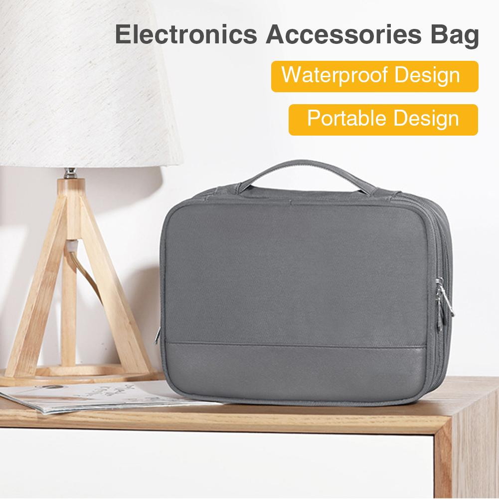 Electronics Organizer Nylon + PU Travel Universal Gray Cable Bag Electronics Accessories Cases For Cable Charger Tablets Phones