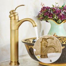 Bathroom Faucet Antique Brass Basin Faucet Deck Mounted Single Handle Single Hole Hot And Cold Water Tap ZD006 frap brass antique brass bathroom faucet sink basin faucet brass single handle single hole deck basin cold