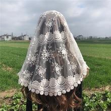 לבן נשים של תחרה קתולי רעלה מנטילת לכנסייה ראש כיסוי צעיף 3D פרח המוני וואל צעיף מטפחת Dentelle אינפיניטי