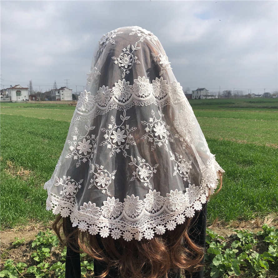White Women's Lace Catholic Veil Mantilla For Church Head Covering Scarf 3D Flower Mass Voile Shawl Kerchief Dentelle Infinity
