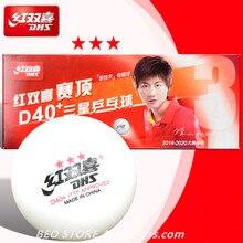 Dhs 3 estrelas d40 + tênis de mesa bola 3-star novo material abs costurado plástico poli original dhs bola 3 estrela ping pong bolas