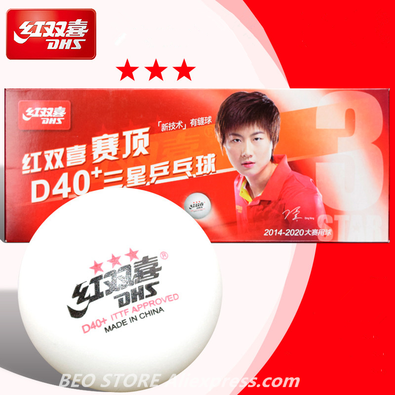 DHS 3-star D40+ Table Tennis Ball Original 3 Star New Material ABS Seamed Plastic Ping Pong Poly