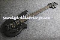 Custom Shop Music Man Style Bongo 6 String Electric Bass Guitar Matte Black Finish Bass Guitarra Electric Free Shipping