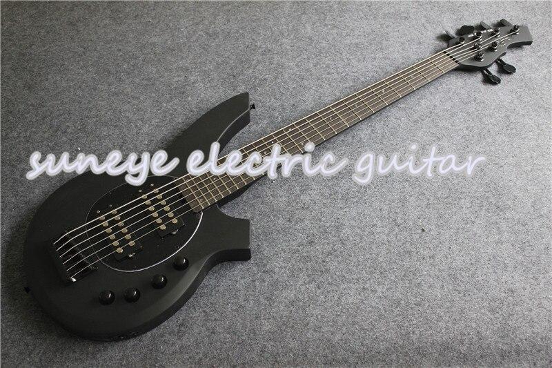 Tienda personalizada música hombre estilo Bongo 6 cuerdas bajo eléctrico Guitarra mate negro acabado bajo Guitarra eléctrica envío gratis