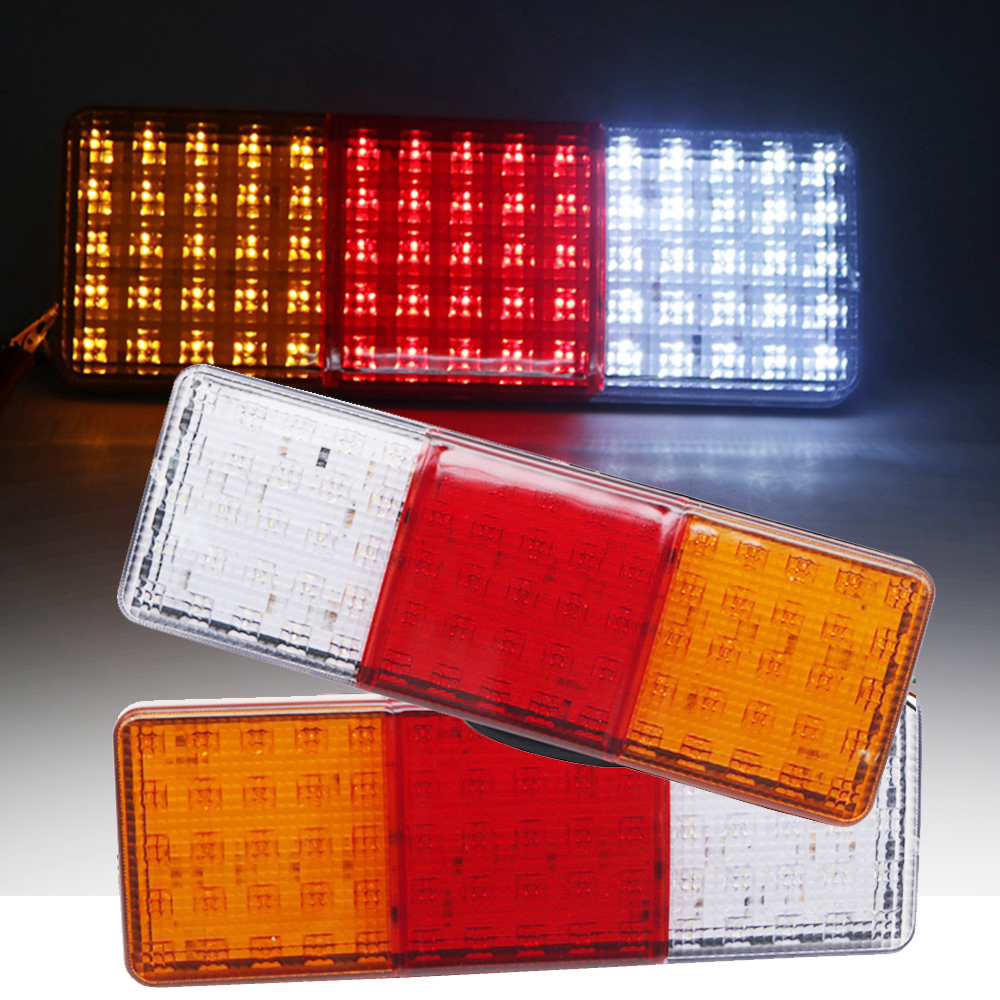 2pcs 12V 24V LED Car Truck Tail Light Warning Lights Rear Lamps Waterproof Tail light for Trailer Caravans buses vans 75 Leds image