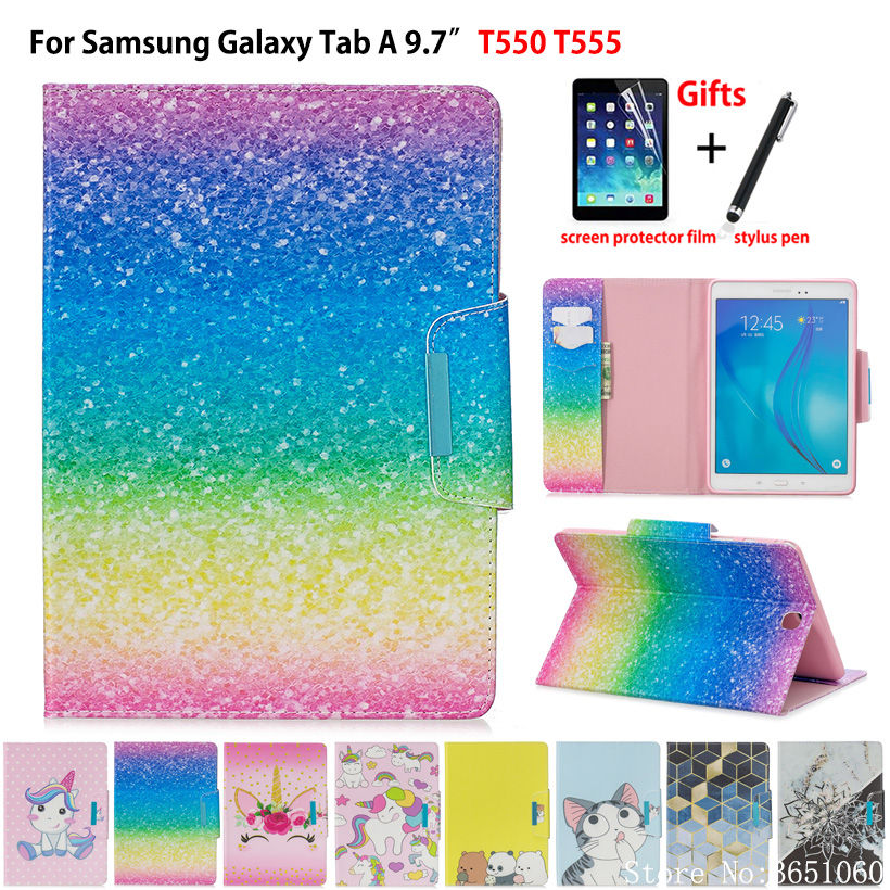 SM-T550 Case Cover For Samsung Galaxy Tab A 9.7 SM-T555 T550 T555 P555 Funda Tablet Fashion Painted PU Leather Stand Shell +Gift