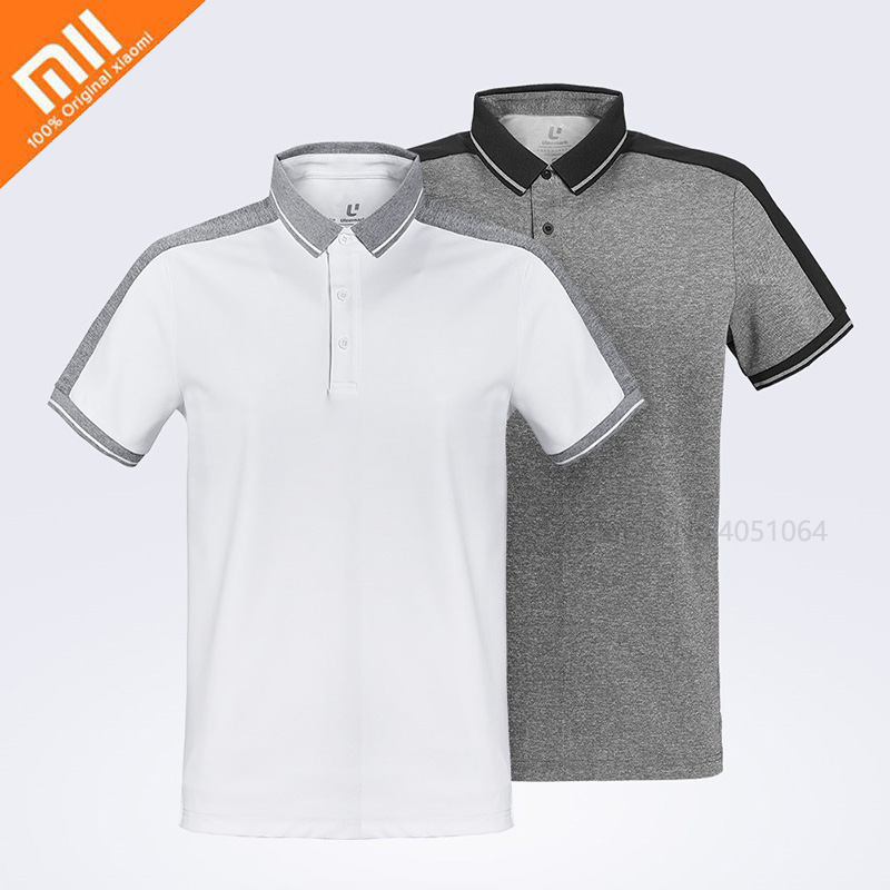 Xiaomi ULEEMARK Fashion Cotton Shirts Male Function Stitching Polo Shirts Short Sleeve Casual Breathable Lapel Clothes For Man
