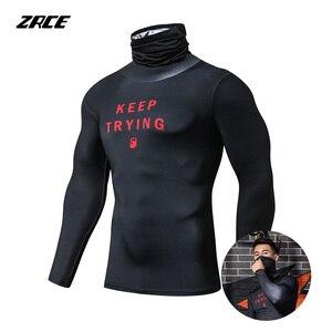 Image 2 - ZRCE Fashion męskie koszulki sportowe siłownia kompresja Skinny T shirt męskie trening Jogging kulturystyka odzież sportowa Top