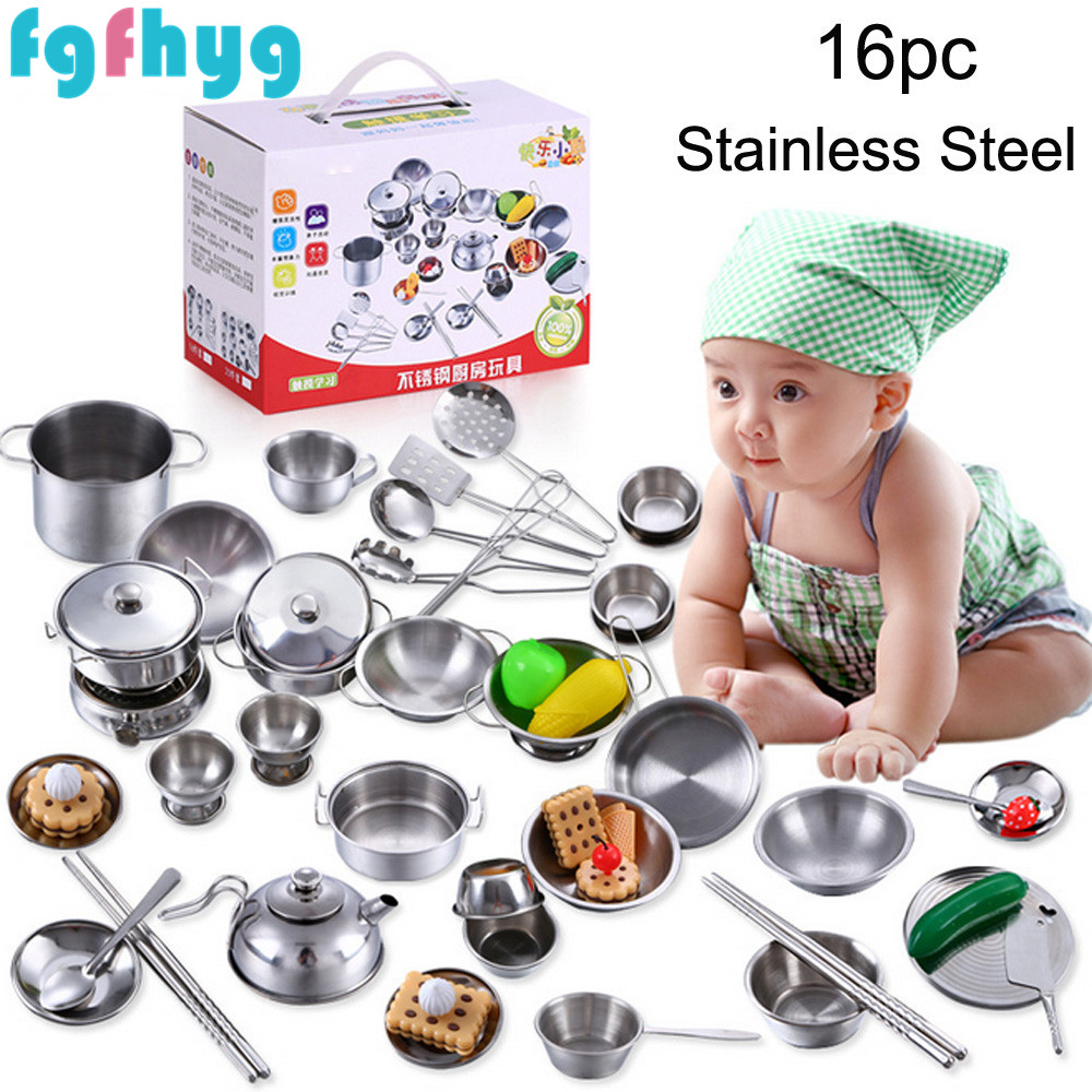 Kids Toys 2020Top Hot 16 Pcs Set Kids Play House Kitchen Toys Cookware Cooking Utensils Pots Pans Gift The Toys Des Jouets