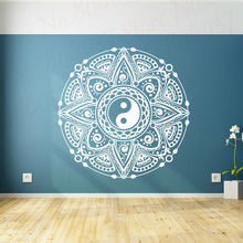Yin Yang Mandala Flower Wall Decal Vinyl Bohemia Wall Stickers for living Room Decoration Removable Art Family Wallpaper WL2176(China)
