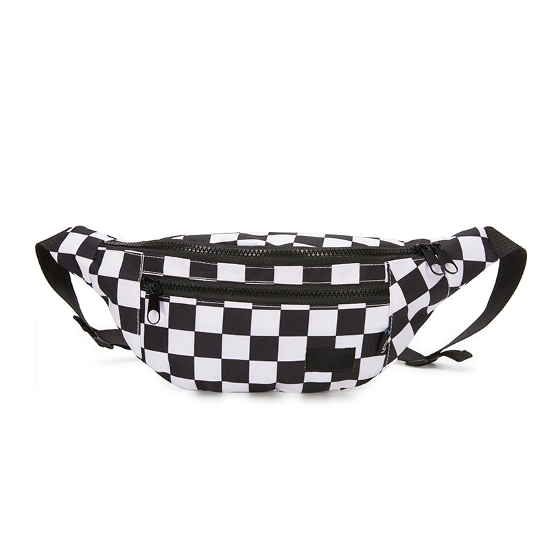 Chessboard Chest Bag Black White Plaid Shoulder Bag Streetfashion Cross-sex Couples Pockets Bag BW19-CH-qpxkxb