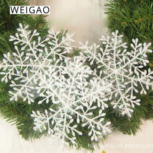 WEIGAO 30pcs Christmas Tree Decorations White Snowflake Ornaments Christmas Party Decoration for Home Artificial snow New Year