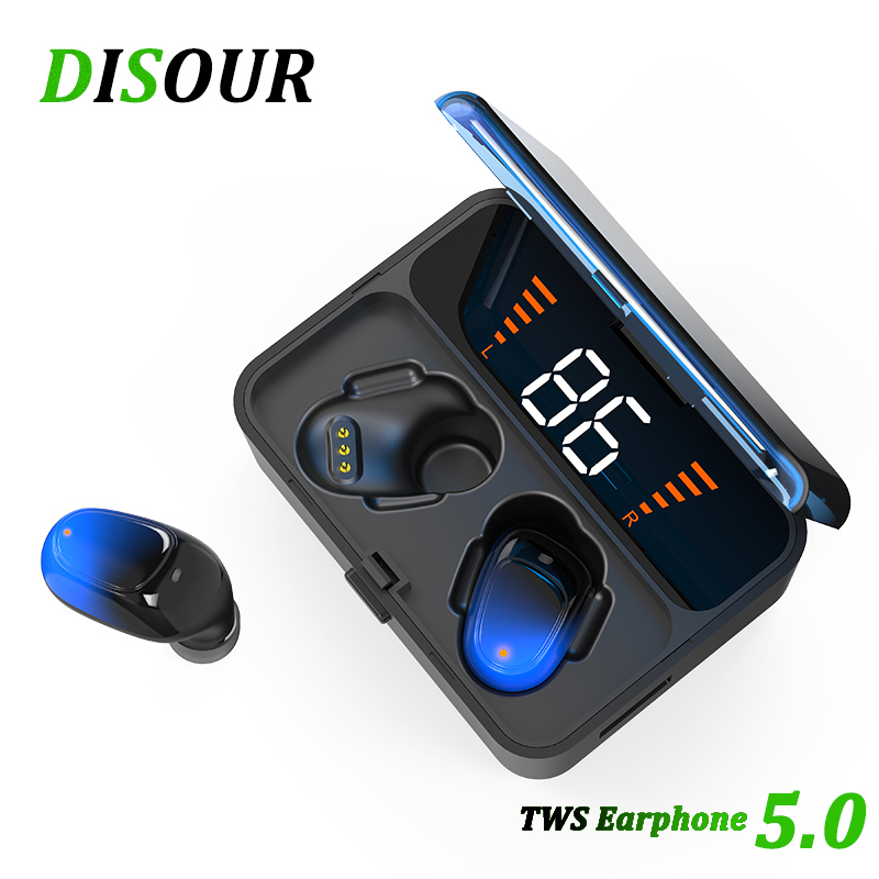 DISOUR TWS 5.0 Bluetooth Earphones IPX5 Waterproof 3D Stereo Wireless Handsfree Sports Earbuds Gaming Headsets With LED Display