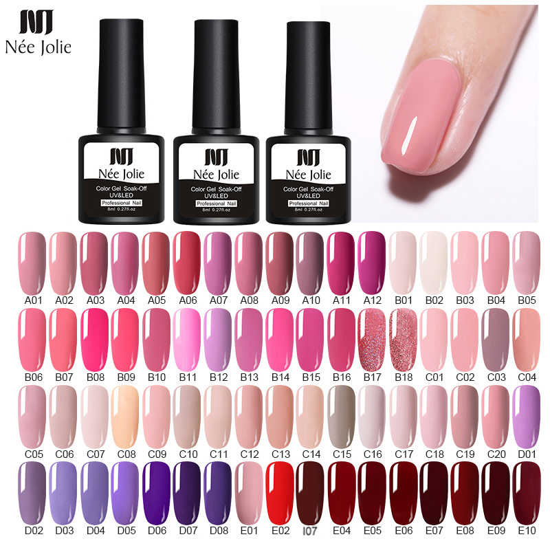 Nee Jolie 60 Warna 8 Ml Gel Nail Polish LED Uv Gel untuk Nail Abu-abu Merah Pink Rendam Off Kuku art Pernis Hybrid Kuku Gel Polandia