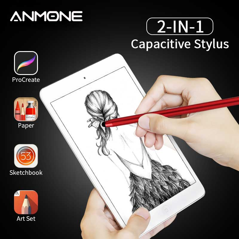 ANMONE 2 In 1 Stylus Pen For Apple IPad Pro 11 12.9 Capacitive Screen Touch Pencil Drawing Pen For Tablet Android Smartphone
