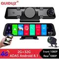 QUIDUX 4G Android 8,1 камера 12 дюймов зеркало заднего вида gps навигация FHD 1080P Автомобильный видеорегистратор видео регистратор рекордер wifi 2 + 32