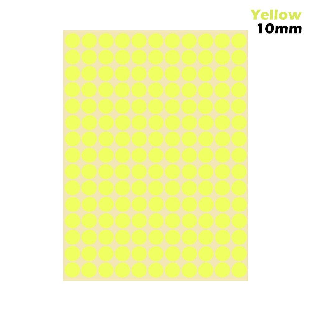 1 лист 10 мм/19 мм цветные наклейки в горошек круглые круги точки бумажные клеящиеся этикетки офисные школьные принадлежности - Цвет: yellow 10mm