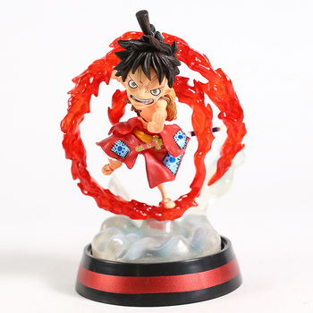 One Piece Wano Country Monkey D luffy Q Version with Light PVC Figure Collectible Model Toy 2