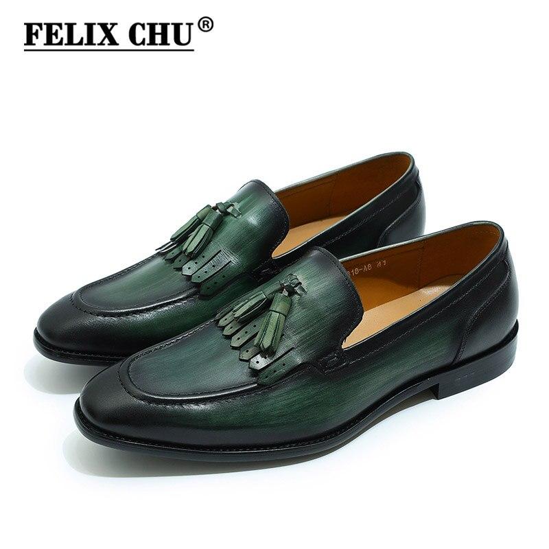 Ayakk.'ten Resmi Ayakkabılar'de FELIX CHU Sonbahar Hakiki Deri El Yapımı Siyah Yeşil Erkek Loafer'lar Püskül Adam Elbise Ayakkabı Düğün Mokasen Parti Ayakkabı'da  Grup 1