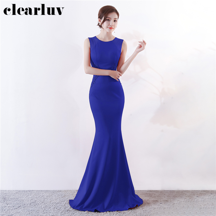 Sleeveless Formal Dress Mermaid Women Party Dresses DX303-4 Plus Size Robe De Soiree 2020 Royal Blue Elegant Slim Evening Dress