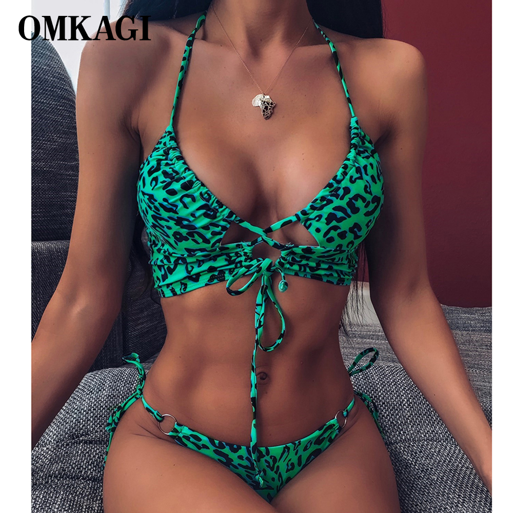 OMKAGI Bandage Bikini Swimwear Women Micro Swimsuit Push Up Bikini Womens Bathing Suits Biquini Leopard High Cut Bikinis 2020