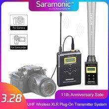 Saramonic uwmic15b sistema de microfone sem fio, uhf 16 canais omnidirecional mic para câmera dslr, filmadora, entrevistas, eng