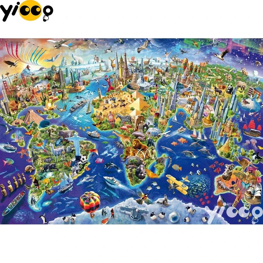 World Map 5D DIY Round Full Drill Diamond Painting Embroidery Cross Stitch Kits