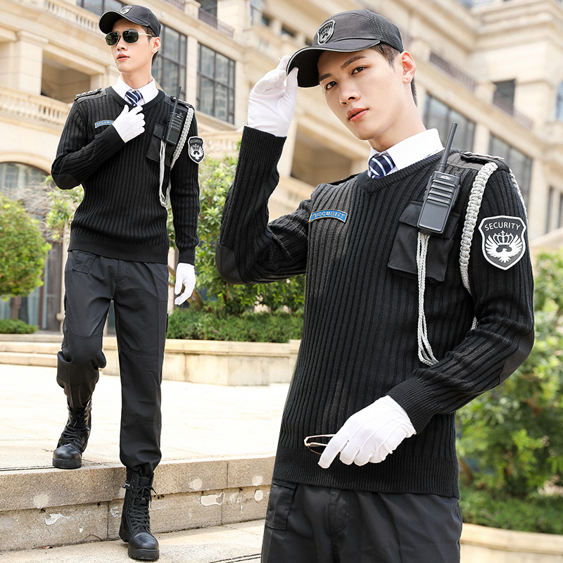 2020 Thick Winter Personality starred hotel Uniform Security Protocol Work Clothing European Pullover Knitted Bottom Men Sweater