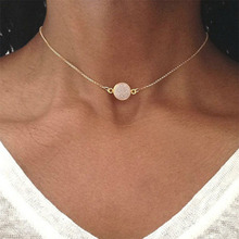 Simple Geometric Resin Disc Necklace Chain Clavicle Choker Pendant Necklaces For Women 2019 Fashion Jewelry Party Gifts WD379