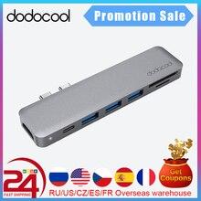 Dodocool HUB USB C de doble USB C para MacBook Pro, 7 en 1, de aleación, con SD HD 4K/lector de tarjetas TF 3, USB 3,0, HUB Thunderbolt tipo C
