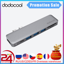 Dodocool Legering 7 In 1 Dual USB C Usb C Hub Met 4K Hd Sd/Tf Card reader 3 Usb 3.0 Hub Thunderbolt Type C Hub Voor Macbook Pro