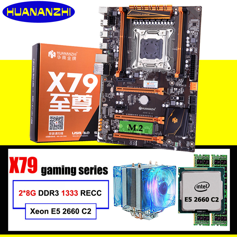 New Arrival HUANANZHI Deluxe X79 Motherboard CPU RAM Set X79 LGA2011 Motherboard Xeon E5 2660 C2 With Cooler RAM 16G(2*8G) RECC