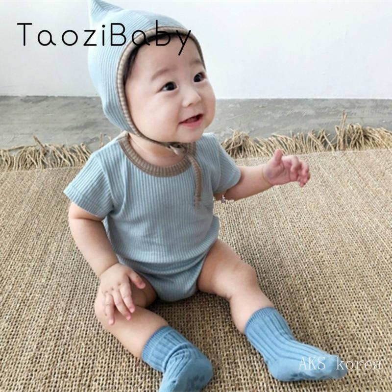 Korean Children's Clothing Short Sleeve Bodysuit 2020 New Summer Baby Soft Short Sleeve One Piece Bodysuit With Hat