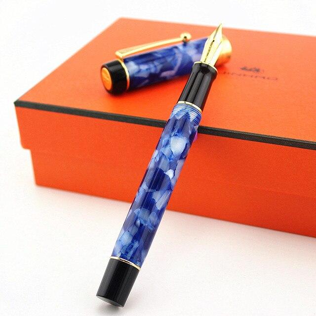 Jinhao 100 Centennial каучуковая перьевая ручка 18KGP средний/зеркальный 0,6/1,2 мм Золотой зажим с конвертером подарочная ручка для бизнеса и офиса