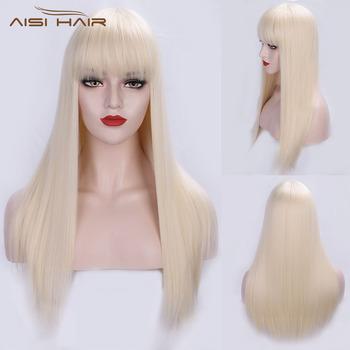 Jestem peruką długie proste 613 syntetyczne blond peruki z Bangs dla kobiet cosplay peruka żaroodporne czarny brązowy Hairpiece tanie i dobre opinie I s a wig Wysokiej Temperatury Włókna Średnia wielkość 1 sztuka tylko WL9252