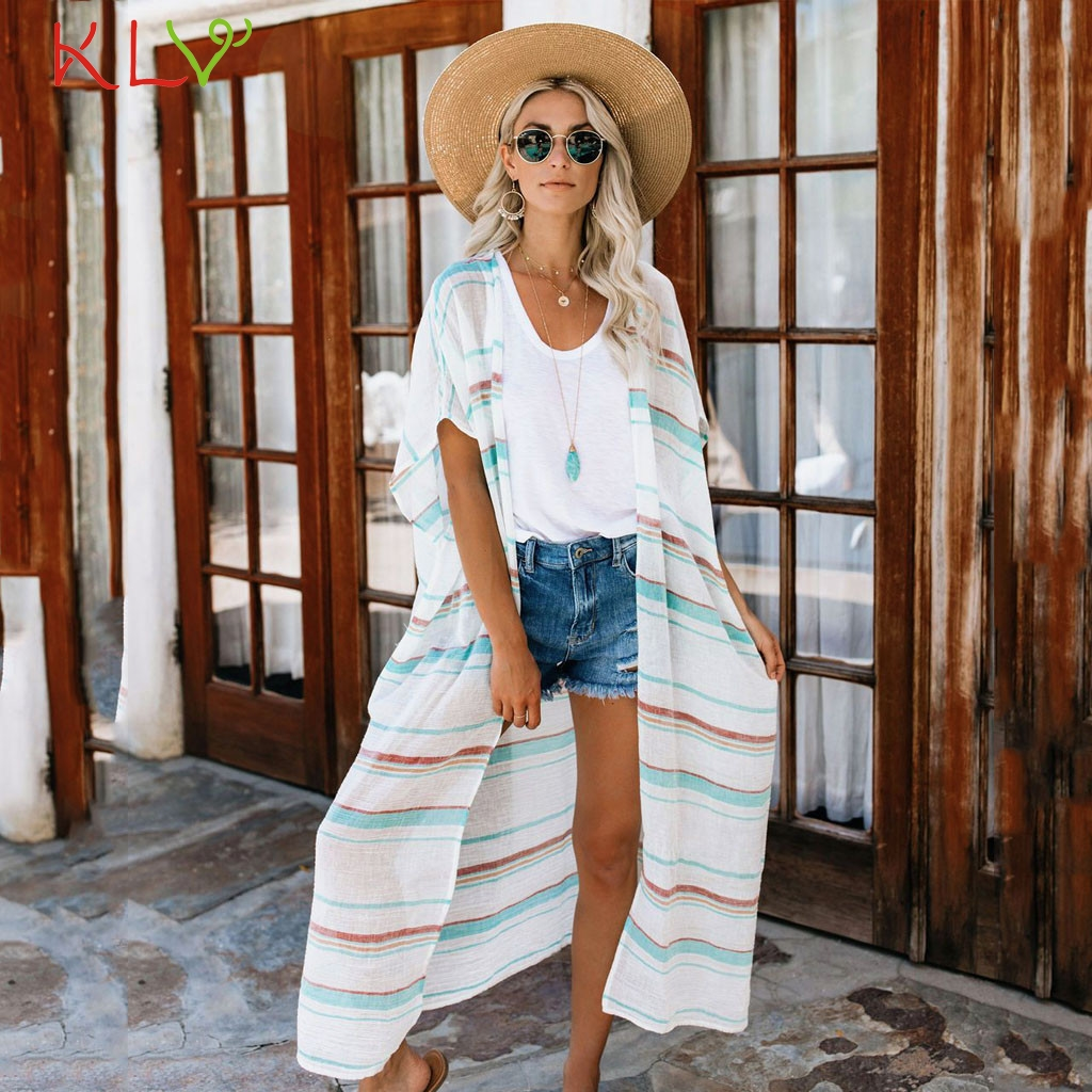 Long Kimonos Mujer Verano Striped Print Half Sleeve Beach Cover Up Summer Casual Kimono Cardigan Women Blouse Fashion Top 20Mar image