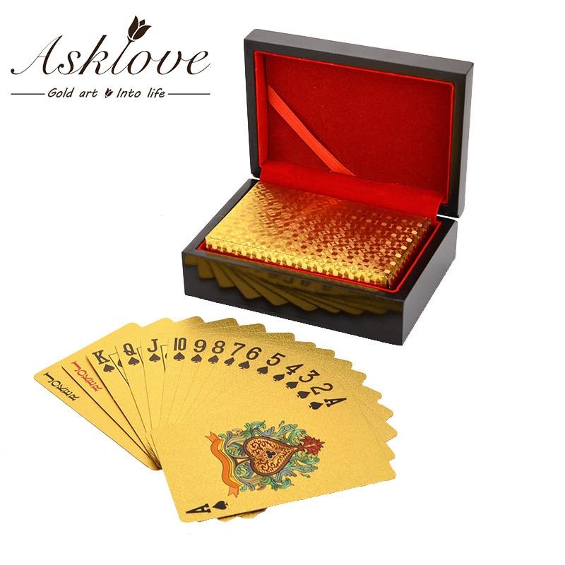 Drewniane pudełko na prezenty opakowanie złota folia pokerowa karty do gry pudełko wodoodporne pudełko na karty do pokera 24K Plated Poker złote karty do gry z pudełkiem