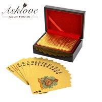 Caja de madera para regalos, caja de cartas de póker de papel de aluminio dorado, caja de cartas de juego de póker impermeable, cartas de juego chapadas en 24K con caja