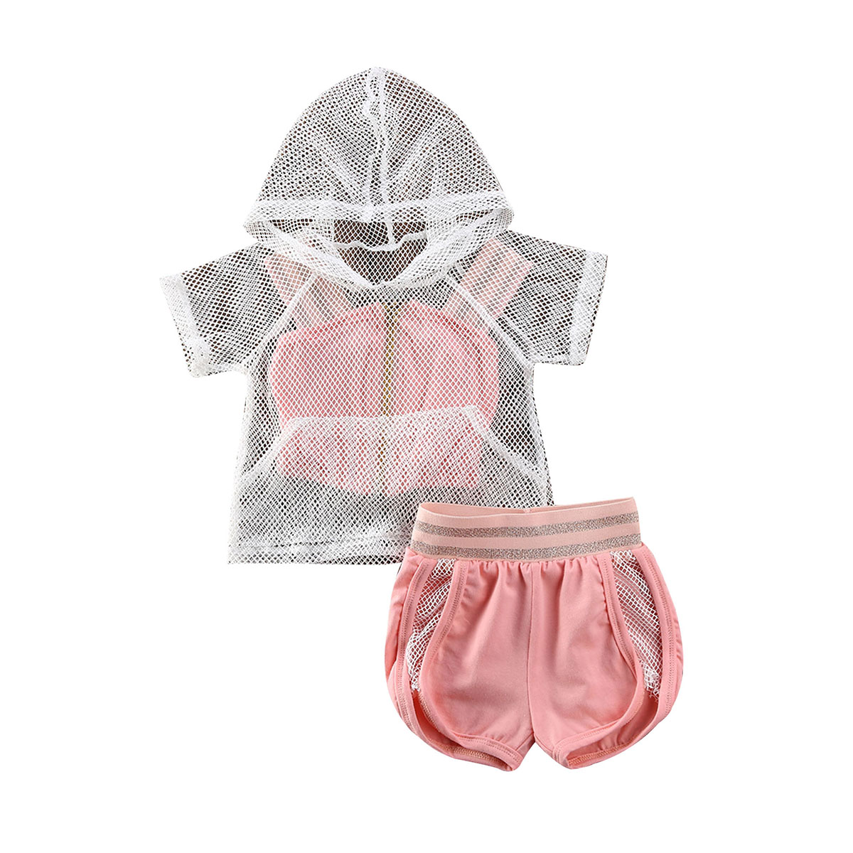 Toddler Baby Girls Strap Camis Fishnet Mesh Hoodies + Shorts Loose Pleated Elastic Band Pants Summer Outfits Clothes Tracksuit
