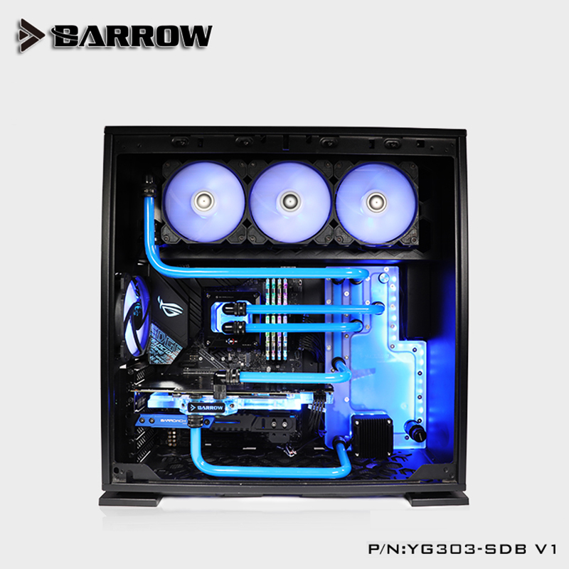 Купить с кэшбэком Barrow Acrylic Board as Water Channel use for IN WIN 303 / 305 Computer Case use for Both CPU and GPU Block /RGB to 5V GND 3PIN