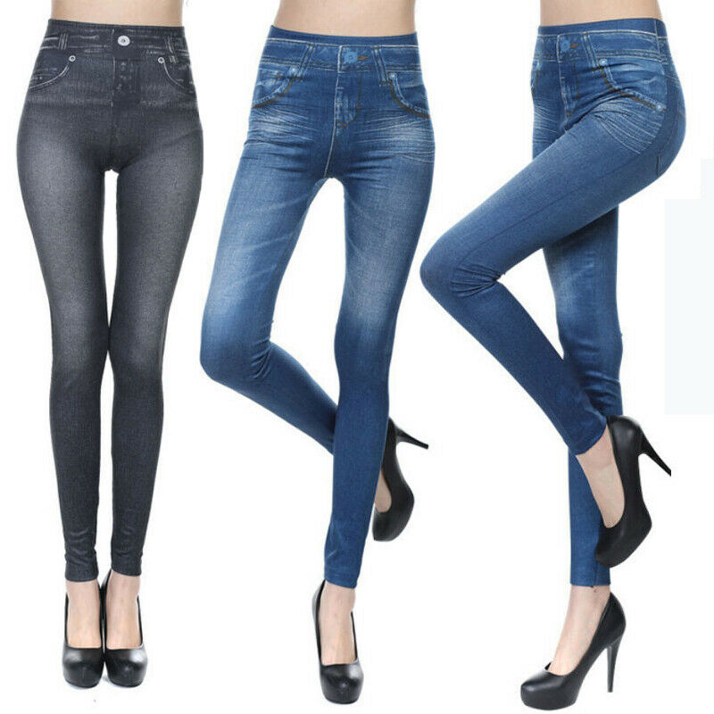 Brand New Women`s Skinny Stretchy Jeggings High Waist Jeans Pencil Pants Casual Ladies Slim Fit Ankle-Length Trousers