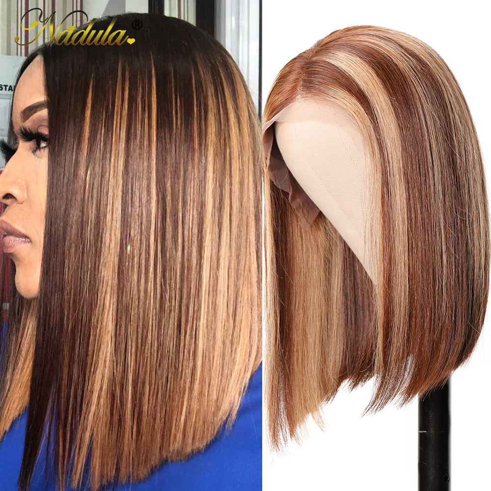 Nadula Wig 13x4 Lace Front  Wigs Short Bob Wig Straight Highlight Wig Pre Plucked Hairline Bleached Knots  Hair 6