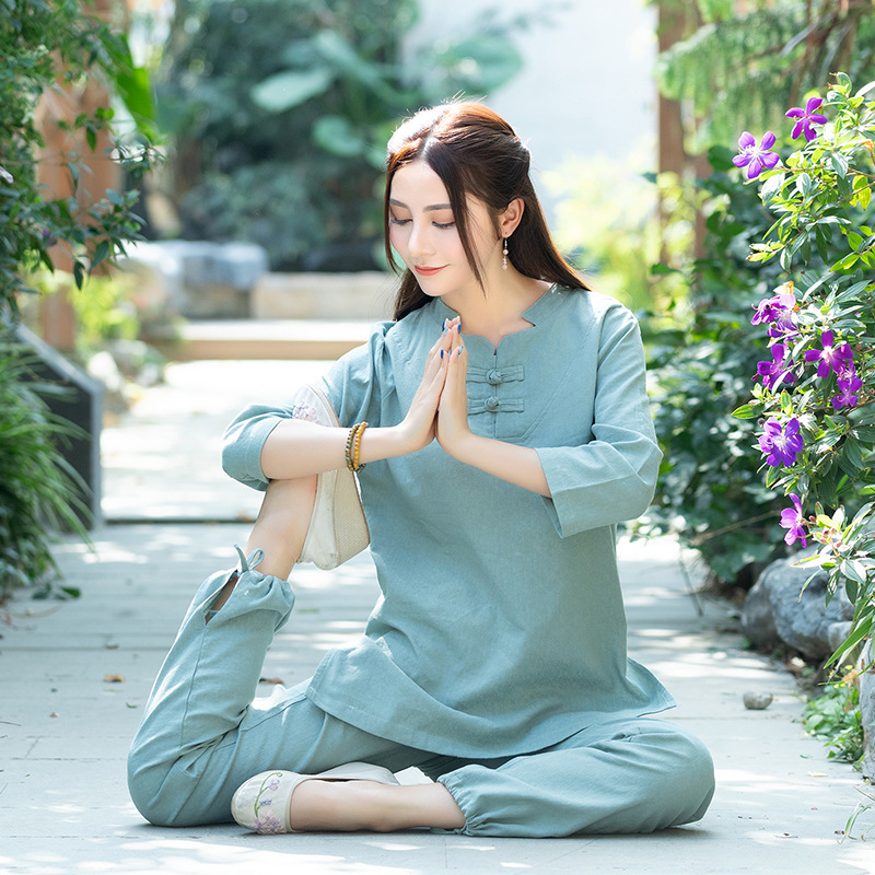 Large Size Dress Cotton Linen Jacquard Yoga Clothes Two-Piece Women's Buddhist Meditation Tai Chi Clothing Set