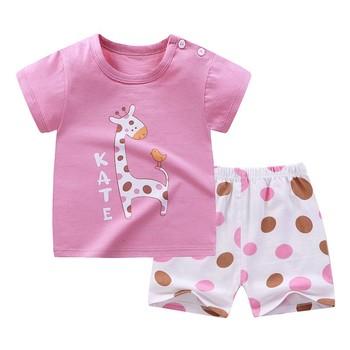 2 sztuka zestaw Baby Girl ubrania dziewczyny letnie ubrania zestaw krótki rękaw koszulki z krótkim rękawem szorty śliczne bawełniane bluzki dla dzieci dres miękki wystrój tanie i dobre opinie Damsko-męskie moda CN (pochodzenie) Z okrągłym kołnierzykiem Zestawy Pulower COTTON krótkie REGULAR Dobrze pasuje do rozmiaru wybierz swój normalny rozmiar